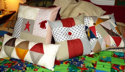 Beginning quilting books can help you make simple projects like these pillows.