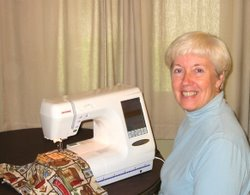 Linda and her Janome 10001 embroidery sewing machine