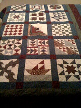Quilt made using a Janome quilting sewing machine.